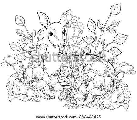 Adult Coloring Bookpage An Hind With FlowersLine Art Style Illustration