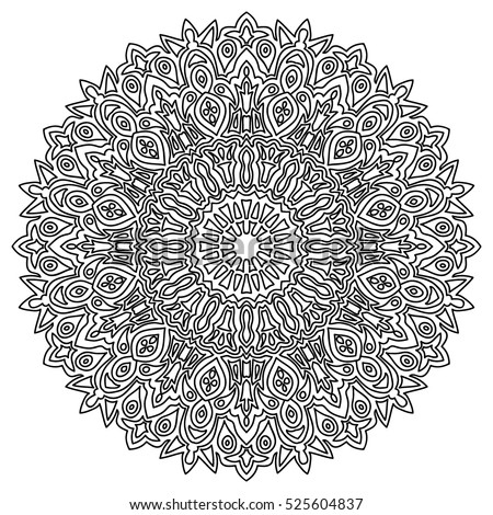 adult coloring book page. black and white round pattern. ethnic hand drawn mandala. monochrome orient arabesque