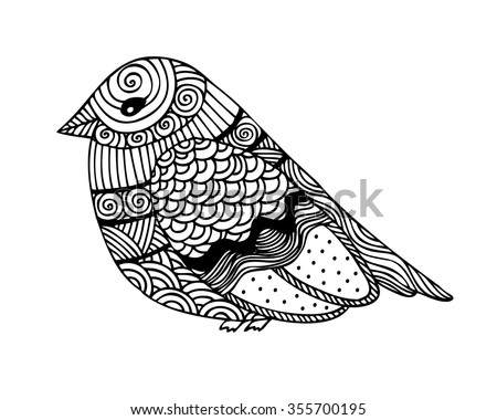 Adult Coloring Book Page Design With Fantastic Bird For Vector