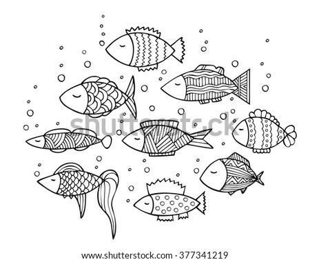 adult coloring book page design with fish coloring book page for adult vector illustration - Fish Coloring Book