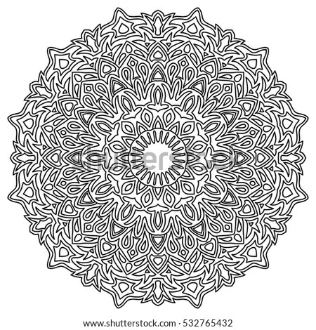 Adult Coloring Book Page Ethnic Orient Mandala Pattern Arabesque Round Ornament Stock Vector