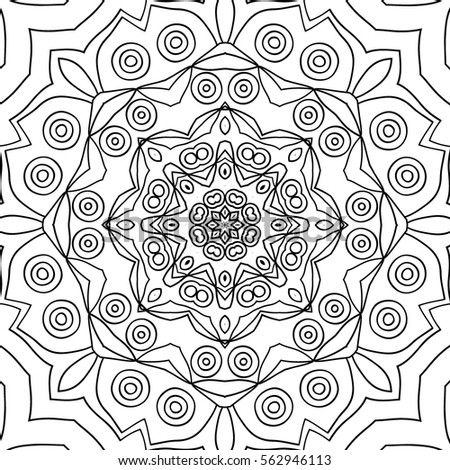 Adult Coloring Book Page Seamless Black And White Pattern Geometric Ornament For Wallpaper