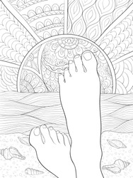 Adult coloring book,page the feet on the  beach with shells ,sun and sea for relaxing.Zen art style illustration.