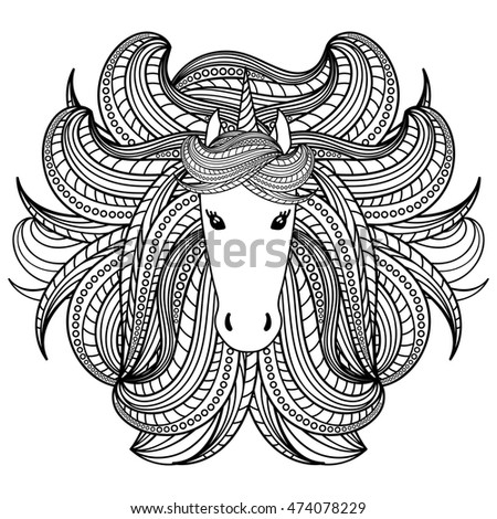 Adult coloring book page with unicorn, wave style mane. Hand drawn vector Illustration for kid textile, card, pin, t-shirt print design. Fashion trend. Fairy tale, magic