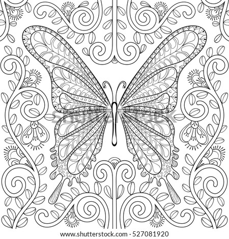 Adult coloring book with butterfly in flowers pages, zentangle vector illustration for art therapy, post card, t-shirt print. Boho tattoo design with doodle elements