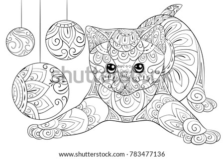 Adult Coloring Page A Cute Little Playing Cat With Decoration Balls For Relaxing ImageZen
