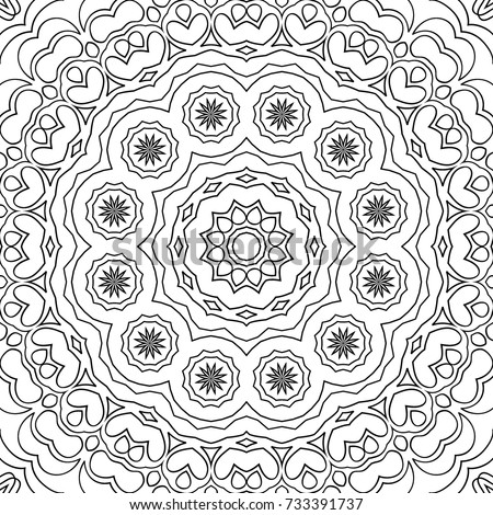 Adult Coloring Page. Black and White Pattern with Tribal Zentangle Mandala. Vector Ethnic Ornament for Cloth, Swimwear, Dress