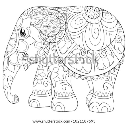 Adult Coloring Pagebook A Cute Elephant For RelaxingZen Art Style Illustration