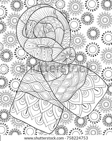 Adult Coloring Pagebook A Cute Scarf On The Background With Snowflakes For Relaxing Zen Art Style Illustration