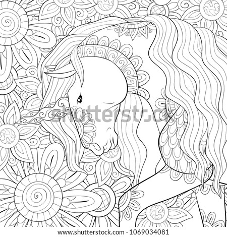 Adult coloring page,book a cute unicorn on the floral background  for relaxing.Zen art style illustration.