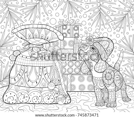 Adult Coloring Pagebook A Little Dog Wearing Christmas Hat Near Gift Boxes