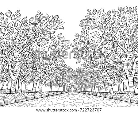 Adult coloring pagebook a park with trees zen tangle style illustration