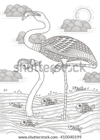 adult coloring page with cranes