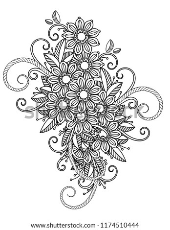 Adult Coloring Page With Floral Pattern Black And White Doodle Flowers Bouquet Line Art Vector Illustration Isolated On Background Design Element