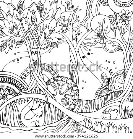 adult coloring page with forest