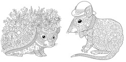 Adult coloring pages. Hedgehog with flowers and cute mouse in hat. Line art design for antistress colouring book in zentangle style. Vector illustration.