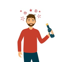 Adult drunk man with alcohol bottle in his hand flat design. Alcoholic character. Alcohol addiction.