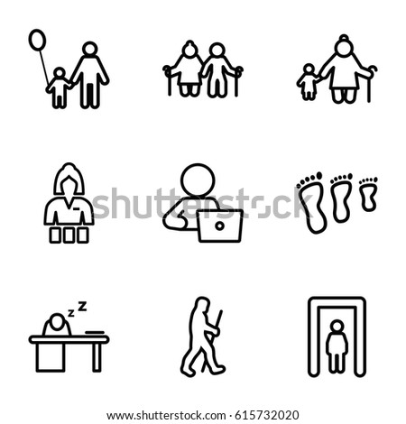 Adult icons set. set of 9 adult outline icons such as metal gate detector, Casino girl, man with laptop, man sleeping on table, caveman, father and son, old woman and child