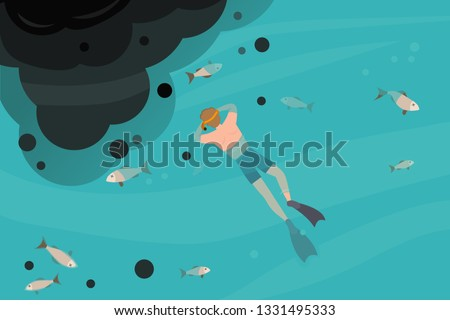 Adult male snorkeling in a polluted sea, oil spill. stock photo