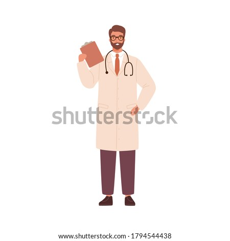 Adult man, doctor physician, practitioner, paramedic holding medical history notepad, stethoscope. Health care hospital worker, therapist. Flat vector cartoon illustration isolated on white background