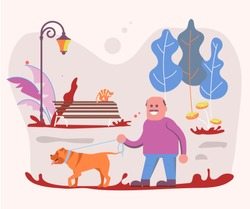 Adult Man pet owner plays with his dog on a walk in forest. Flat Art Vector illustration