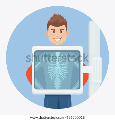 Adult man with skeleton isolated on background. X-ray screen showing chest. Medical check up, inspect, ultrasound. Health examination, test. Healthcare concept. Cartoon character. Vector illustration.