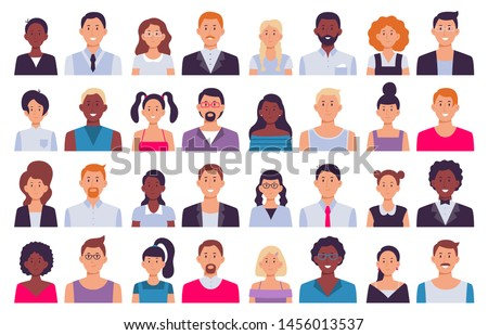 Adult people avatars. Man in business suit, corporate woman avatar and professional person. Face avatars portrait, multicultural human head portraits. Isolated icon flat vector illustration set