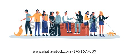Adult people doing daily life activities. Diverse group at street scene on isolated white background. Includes dog pets, friends talking and smart phone users.