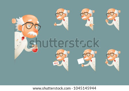 Adult Scientist Character Old Grandfather Look Wise Out Corner Icons Set Cartoon Design Vector Illustration