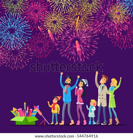 Adults and children watching explosion of colourful salutes in sky and green box with pyrotechnics near them. Vector illustration of people celebrating New Year with fireworks, holiday celebration