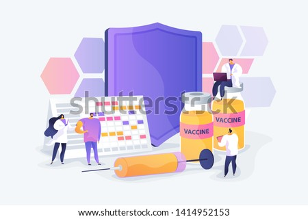 Adults getting flu vaccine shots. Epidemy prevention. Vaccination program, disease immunization vaccine, medical health protection concept. Vector isolated concept creative illustration