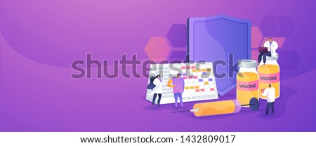 Adults getting flu vaccine shots. Epidemy prevention. Vaccination program, disease immunization vaccine, medical health protection concept. Website homepage header landing web page template.