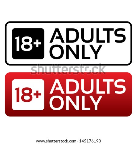Shutterstock Adults only content button. Vector sticker. Age limit stamp.