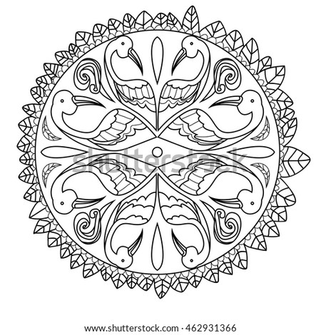 Adutl coloringpage with birds feathers. Vector outlines. Stock photo ©