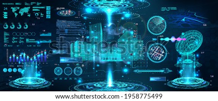 Advance control center with HUD UI. Building Information Modeling with Futuristic User Interface. Smart technology IOT for city and buildings. Scifi 3D hologram models with HUD. Vector illustration