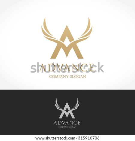 Advance logo template, Brand design with A letter and wing symbol