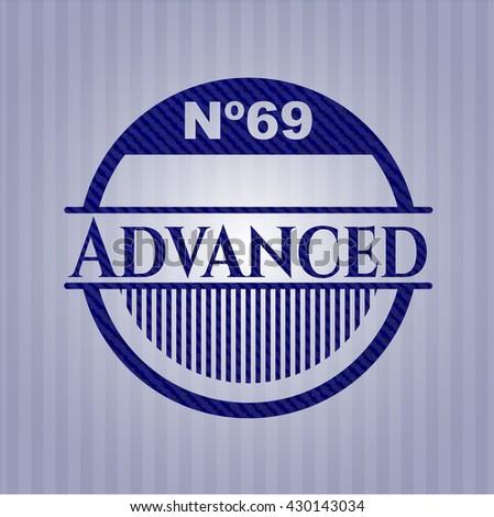 Advanced badge with denim background