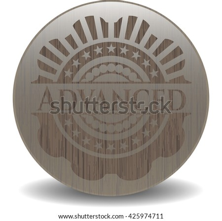 Advanced badge with wooden background