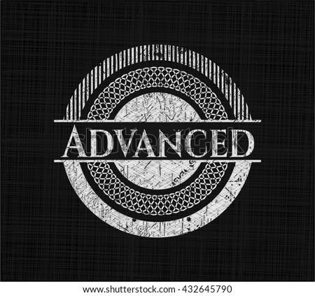 Advanced chalkboard emblem on black board