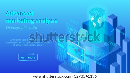 Advanced Marketing Analysis Service Isometric Vector Web Banner, Landing Page Template. Big Data Analyzing, Demographic Research, Digital Technologies in Business, Worldwide Sales Strategy Planning