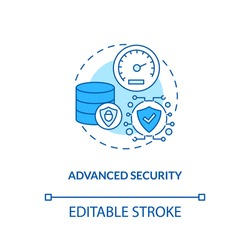 Advanced security concept icon. SaaS advantage idea thin line illustration. Protecting sensitive data at source. Data encryption to users. Vector isolated outline RGB color drawing. Editable stroke