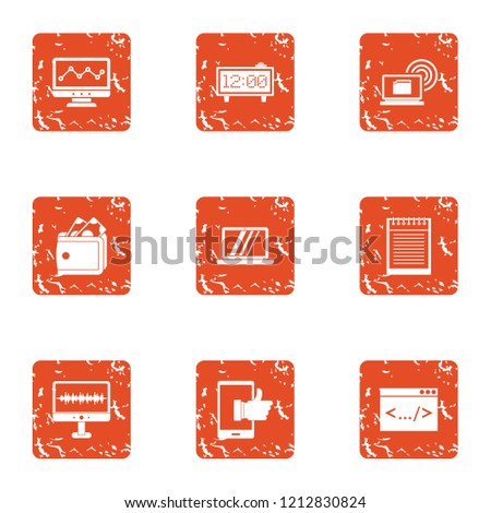 Advancement icons set. Grunge set of 9 advancement vector icons for web isolated on white background