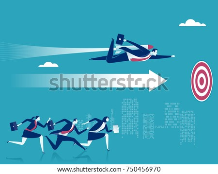 Advantage. Businessman flying forward with a rocket engine. Business vector concept illustration