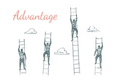 Advantage. Businessmen compete and strive to rise higher. The three men have a short ladders, the leader climbs the long ladder to the sky. Vector illustration, business concept, hand drawn sketch.