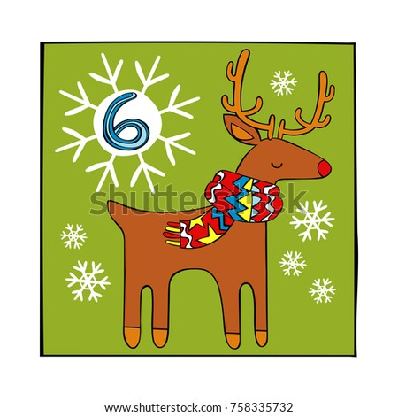 Advent calendar. Christmas deer and snowflakes. 6. Isolated vector objects on white background.
