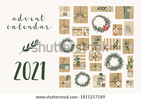 Advent calendar. Christmas presents in kraft paper and wreaths, with numbers 1 to 25. Rustic gift box. Eco decoration.  New 2021 Year and Xmas celebration preparation. Vector flat cartoon style