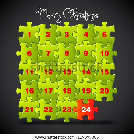Advent calendar made from puzzle - vector template