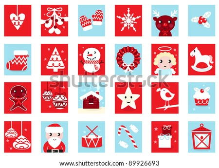 Advent Calendar, Retro Christmas Icons Isolated On White Stock ...