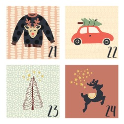 Advent calendar with cute hand drawn vector Christmas holiday illustration set of 4 for December 21st - 24th. Ugly Christmas sweater, tree, car, reindeer. For poster, cards, blog, Christmas countdown