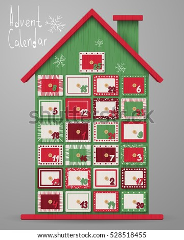 Advent calendar, wood house with box. Wooden texture. Merry Christmas poster. Holiday design, decor. Vector illustration.